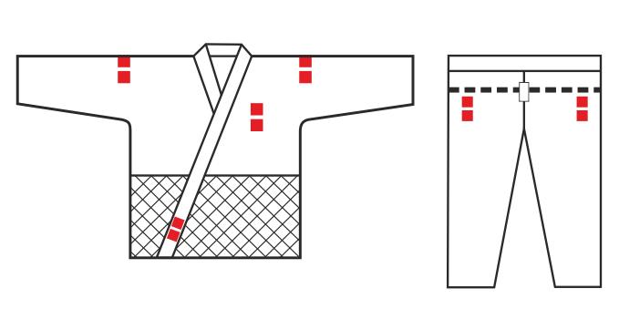 Места для вышивки на куртке